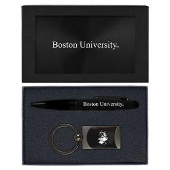 Boston University -Executive Twist Action Ballpoint Pen Stylus and Gunmetal Key Tag Gift Set-Black