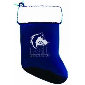 Colorado State University–Pueblo - Christmas Holiday Stocking Ornament - Blue
