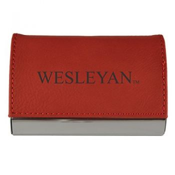 Velour Business Cardholder-Wesleyan University-RED