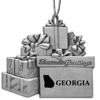 Georgia-State Outline-Pewter Gift Package Ornament-Silver