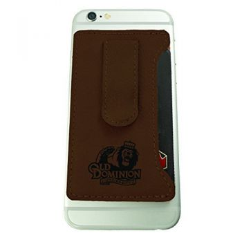 Old Dominion University -Leatherette Cell Phone Card Holder-Brown