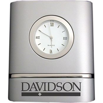 Davidson College- Two-Toned Desk Clock -Silver