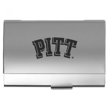 University of Pittsburgh - Two-Tone Business Card Holder - Silver