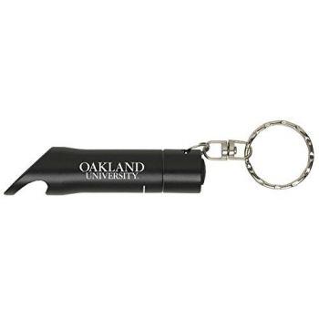 Oakland University - LED Flashlight Bottle Opener Keychain - Black