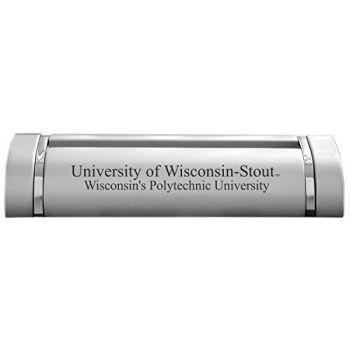 University of Wisconsin–Stout-Desk Business Card Holder -Silver