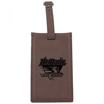 DePaul University -Leatherette Luggage Tag-Brown