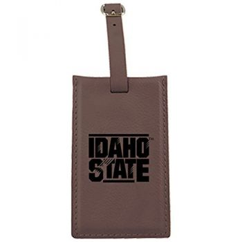 Idaho State University -Leatherette Luggage Tag-Brown
