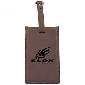 Elon University -Leatherette Luggage Tag-Brown