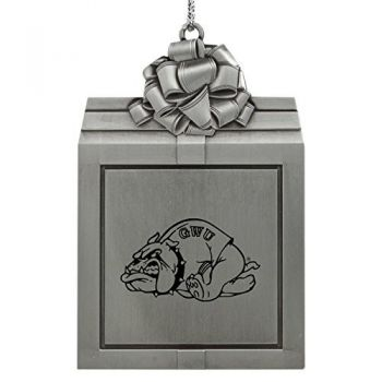 Gardner-Webb University-Pewter Christmas Holiday Present Ornament-Silver