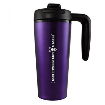 Northwestern State University -16 oz. Travel Mug Tumbler with Handle-Purple