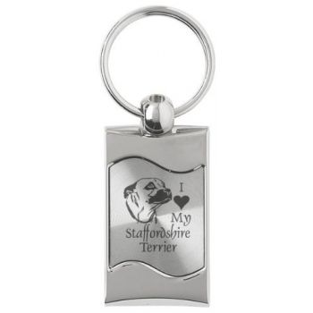 Keychain Fob with Wave Shaped Inlay  - I Love My Staffordshire Terrier