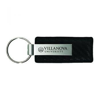 Villanova University-Carbon Fiber Leather and Metal Key Tag-Black