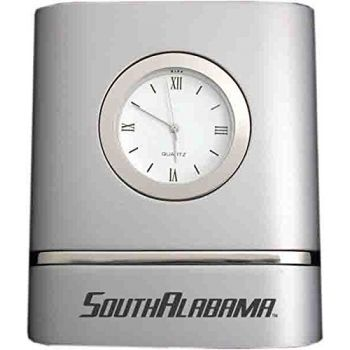 University of South Alabama- Two-Toned Desk Clock -Silver