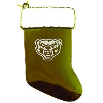 Oakland University - Chirstmas Holiday Stocking Ornament - Gold