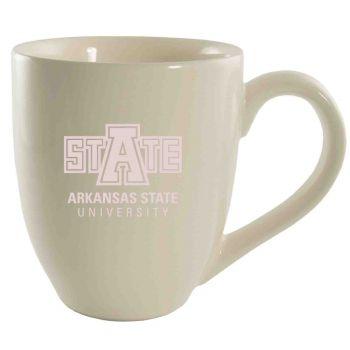 Arkansas State University -16 oz. Bistro Solid Ceramic Mug-Cream