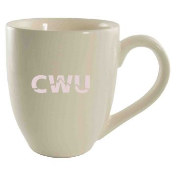 Central Washington University -16 oz. Bistro Solid Ceramic Mug-Cream