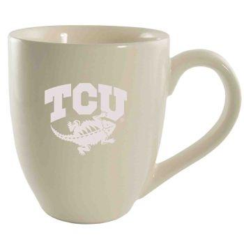 Texas Christian University -16 oz. Bistro Solid Ceramic Mug-Cream