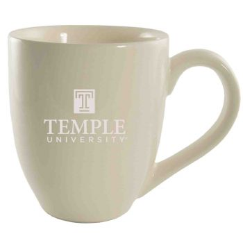 Temple University -16 oz. Bistro Solid Ceramic Mug-Cream