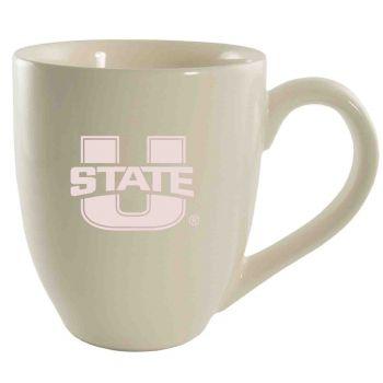 Utah State University -16 oz. Bistro Solid Ceramic Mug-Cream