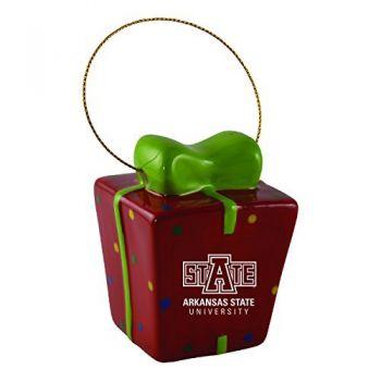 Arkansas State University-3D Ceramic Gift Box Ornament
