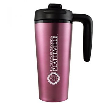 University of Wisconsin-Platteville-16 oz. Travel Mug Tumbler with Handle-Pink
