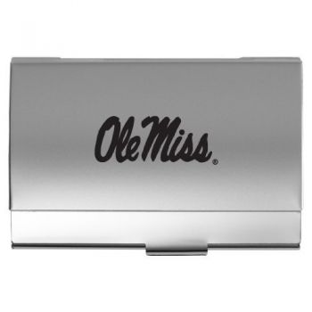 University of Mississippi - Two-Tone Business Card Holder - Silver