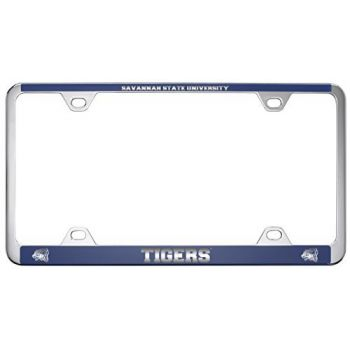 Savannah State University -Metal License Plate Frame-Blue