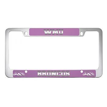 Western Michigan University-Metal License Plate Frame-Pink