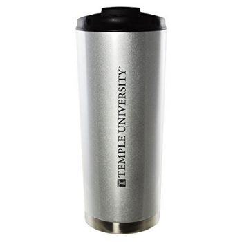 Temple University-16oz. Stainless Steel Vacuum Insulated Travel Mug Tumbler-Silver