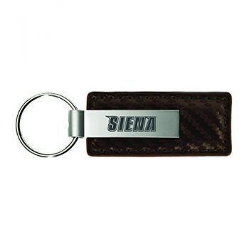 Siena College-Carbon Fiber Leather and Metal Key Tag-Taupe
