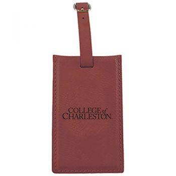 College of Charleston-Leatherette Luggage Tag-Burgundy