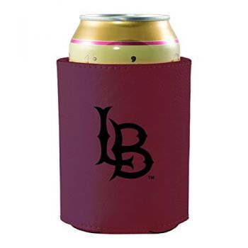 Long Beach State University -Leatherette Beverage Can Cooler-Burgundy