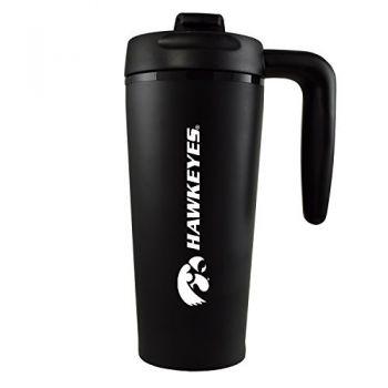 University of Iowa-16 oz. Travel Mug Tumbler with Handle-Black