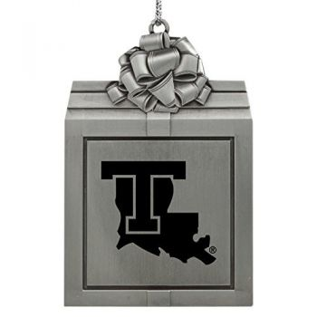 Louisiana Tech University -Pewter Christmas Holiday Present Ornament-Silver
