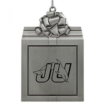Jacksonville University -Pewter Christmas Holiday Present Ornament-Silver