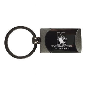 Northwestern University -Two-Toned Gun Metal Key Tag-Gunmetal