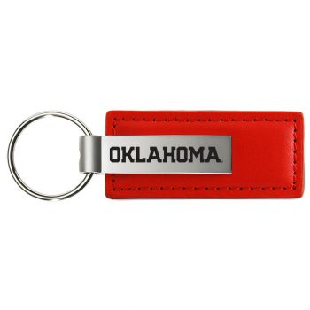 University of Oklahoma - Leather and Metal Keychain - Red