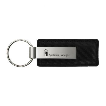 Spelman College-Carbon Fiber Leather and Metal Key Tag-Black