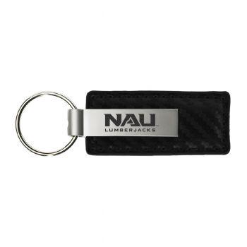 Northern Arizona University-Carbon Fiber Leather and Metal Key Tag-Black