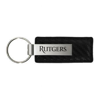 Rutgers University-Carbon Fiber Leather and Metal Key Tag-Black