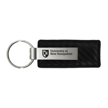 University of New Hampshire-Carbon Fiber Leather and Metal Key Tag-Black