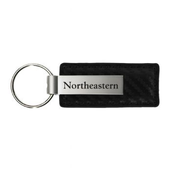 Northeastern University-Carbon Fiber Leather and Metal Key Tag-Black