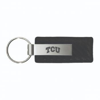 Texas Christian University-Carbon Fiber Leather and Metal Key Tag-Black