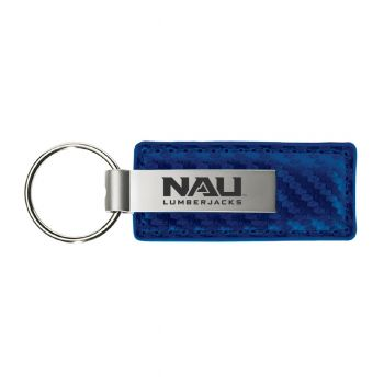 Northern Arizona University-Carbon Fiber Leather and Metal Key Tag-Blue