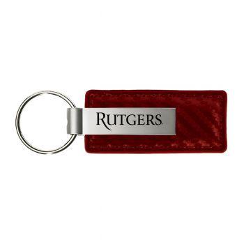 Rutgers University-Carbon Fiber Leather and Metal Key Tag-Burgundy