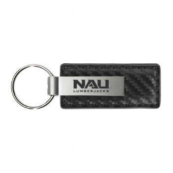 Northern Arizona University-Carbon Fiber Leather and Metal Key Tag-Grey
