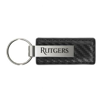 Rutgers University-Carbon Fiber Leather and Metal Key Tag-Grey