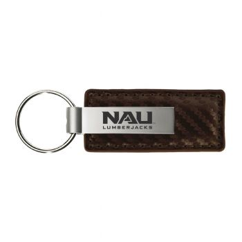 Northern Arizona University-Carbon Fiber Leather and Metal Key Tag-Taupe