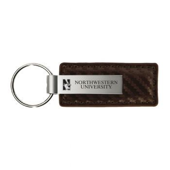 Northwestern University-Carbon Fiber Leather and Metal Key Tag-Taupe