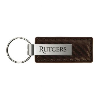 Rutgers University-Carbon Fiber Leather and Metal Key Tag-Taupe